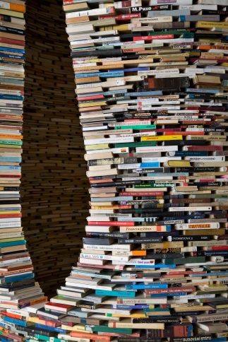 A tower of used books
